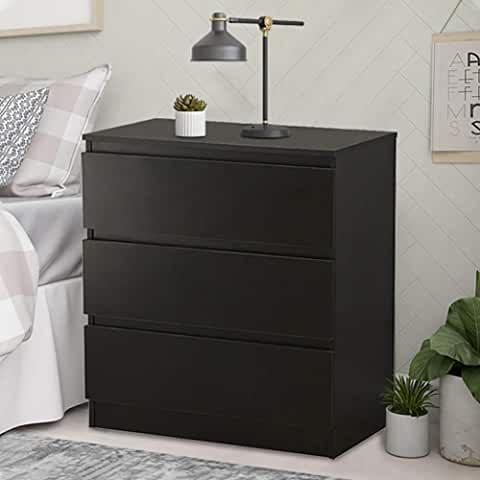 Popamazing Black Wood Bedside Cabinet