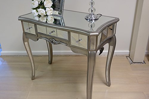 Abreo Mirror Silver Trim Bedroom Furniture Bedside Table