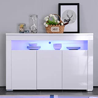 Mecor High Gloss Sideboard Cabinet with LED Lighting for Living Room Dining Room Furniture Cupboard in White Matt (White 3 Doors)